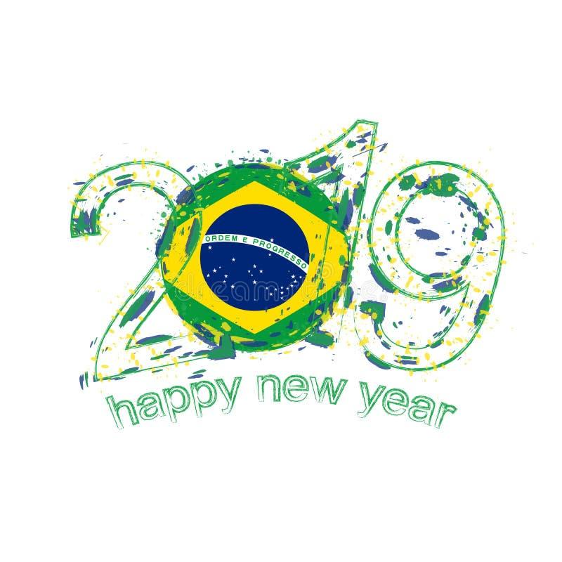 与巴西的旗子的愉快的新的2019年 假日难看的东西传染媒介我 皇族释放例证