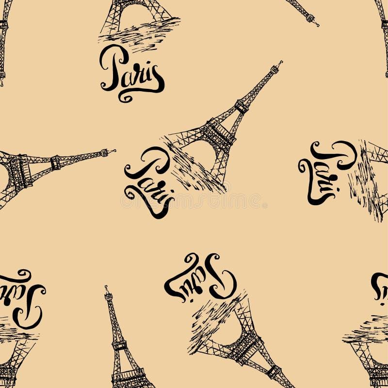 与巴黎标签,手拉的艾菲尔铁塔的无缝的样式,在米黄背景的巴黎上写字 向量例证
