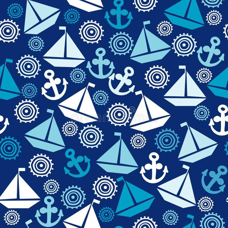 与帆船、船锚和风格化s的动画片无缝的样式 皇族释放例证
