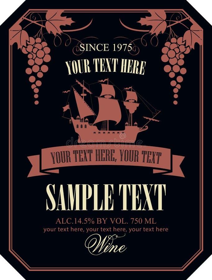 Download 与帆船和葡萄的酒标签 向量例证. 插画 包括有 登记, 框架, 香槟, 海盗, 现代, 叶子, 设计, 长方形 - 72368987