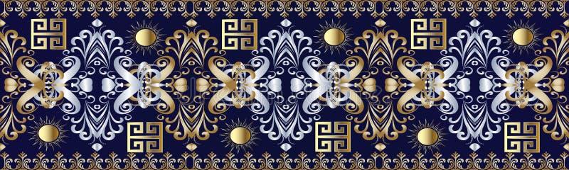 与希腊关键装饰品的锦缎无缝的边界样式 向量例证