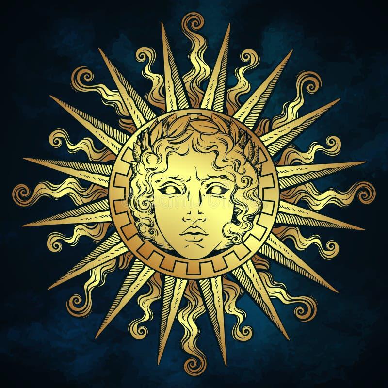与希腊和罗马神阿波罗的面孔的手拉的古色古香的样式太阳在蓝天背景的 一刹那纹身花刺或织品印刷品de 库存例证
