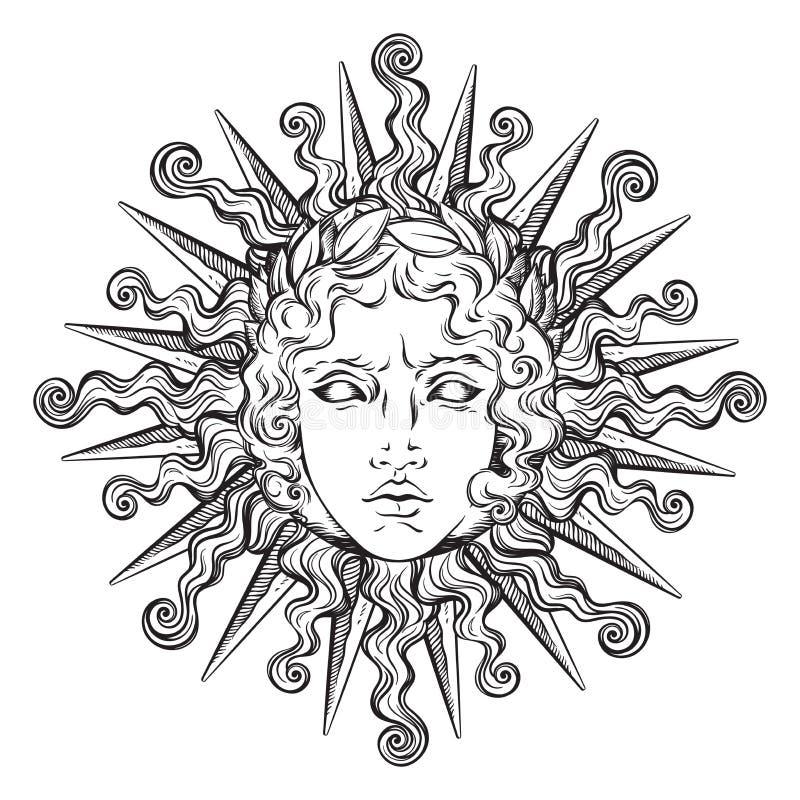 与希腊和罗马神阿波罗的面孔的手拉的古色古香的样式太阳 一刹那纹身花刺或印刷品设计传染媒介例证 皇族释放例证