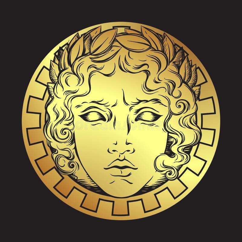 与希腊和罗马神阿波罗的面孔的手拉的古色古香的样式太阳 一刹那纹身花刺或印刷品设计传染媒介例证 库存例证