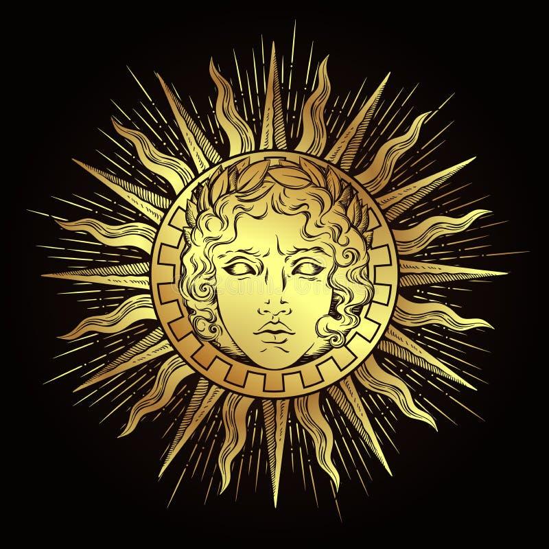 与希腊和罗马神阿波罗的面孔的手拉的古色古香的样式太阳 一刹那纹身