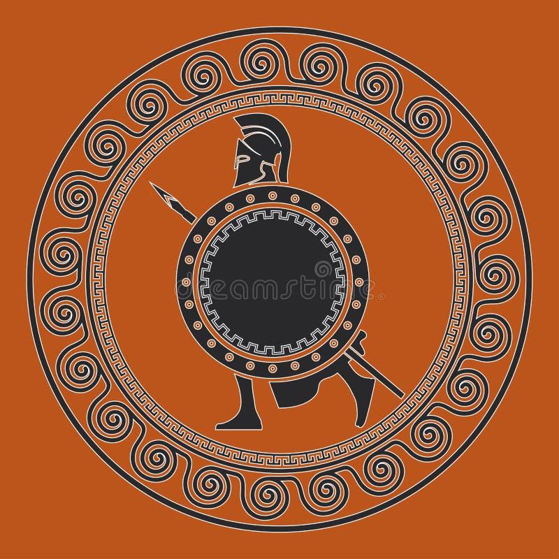 与希腊战士的标志 斯巴达战士的剪影 向量例证