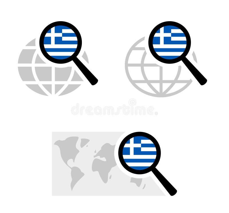 与希腊旗子的查寻象 向量例证