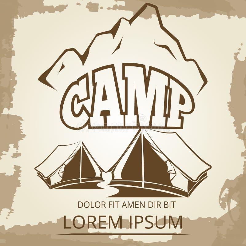 与帐篷和山的野营的标签在葡萄酒背景 库存例证