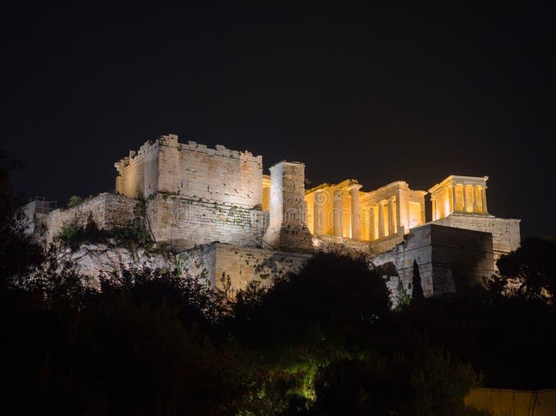 与帕台农神庙的上城小山在雅典希腊 免版税库存图片