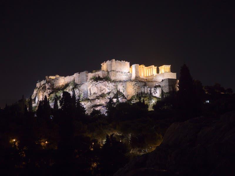 与帕台农神庙的上城小山在雅典希腊 免版税图库摄影