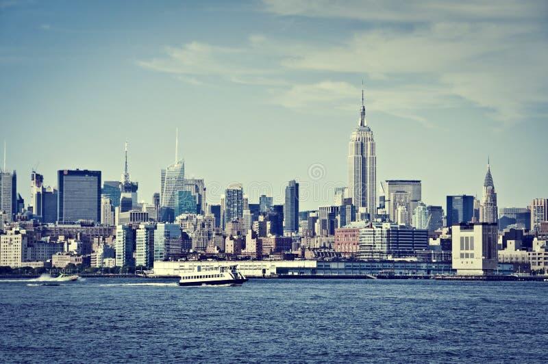 与帝国大厦的曼哈顿地平线,纽约美国 库存照片