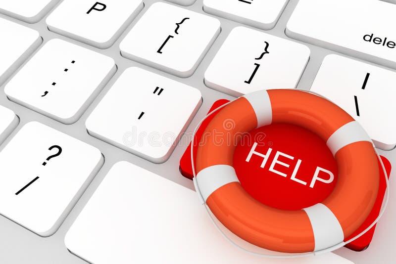 与帮助按钮的计算机键盘和lifebuoy 向量例证