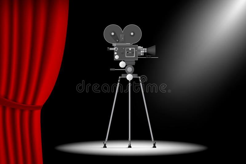 与帷幕的剧院阶段和在三脚架的现实照相机 Vecto 皇族释放例证