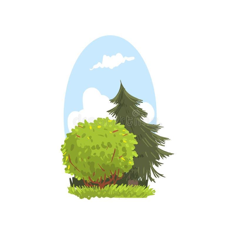 与常青冷杉和灌木的详细的手拉的风景场面 具球果和落叶树 森林地自然 平面 向量例证