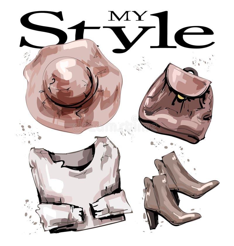 与帽子、背包、鞋子和毛线衣的手拉的时尚集合 时髦的女性成套装备 时尚妇女的衣物集合 草图 向量例证