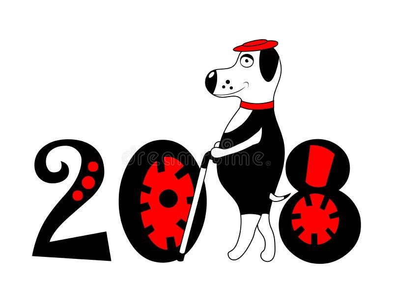 与帽子和藤茎的狗作为标志2018年 向量 库存例证