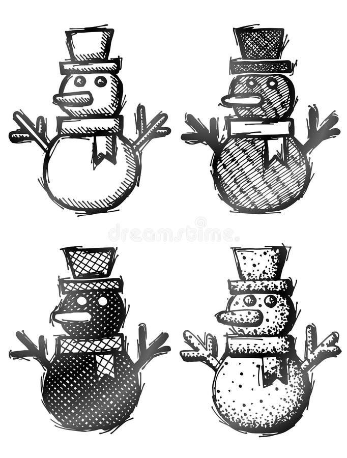 与帽子和围巾的手拉的雪人 向量例证