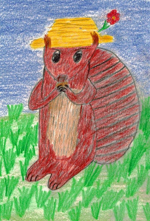 与帽子的一只可爱的动画片灰鼠吃一枚坚果 向量例证