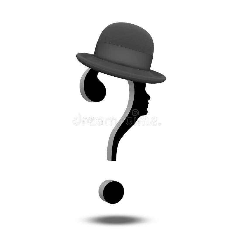 与帽子的问号 库存例证