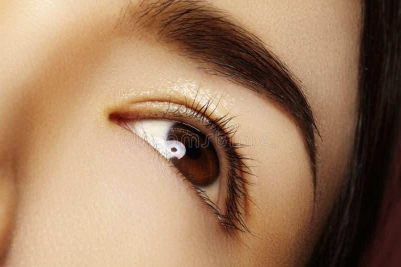 与干净的构成的特写镜头亚洲眼睛 完善的形状眼眉 化妆用品和构成 关于眼睛的关心 免版税库存图片