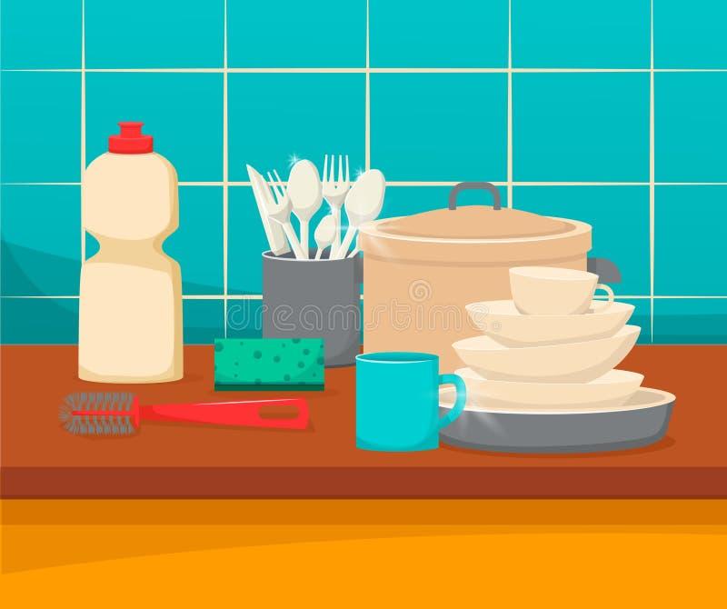 与干净的盘的厨房水槽和辅助部件、命令和舒适 向量例证