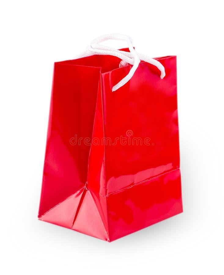 与干净的空白的购物的红色纸袋模板 库存图片