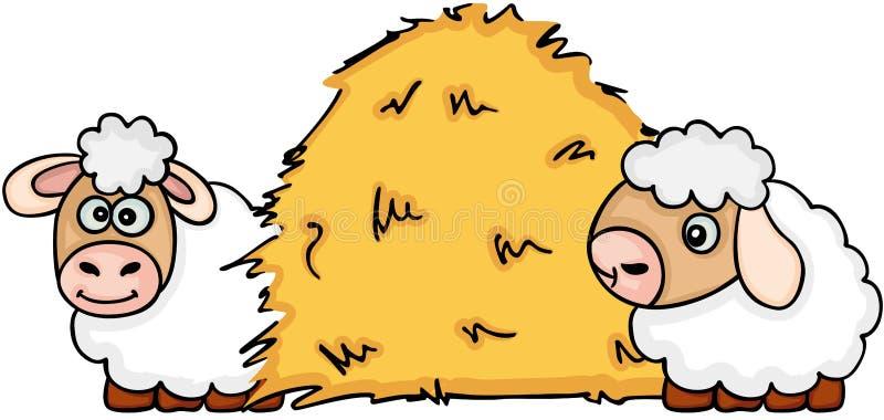 download 与干干草的两只绵羊 向量例证.图片