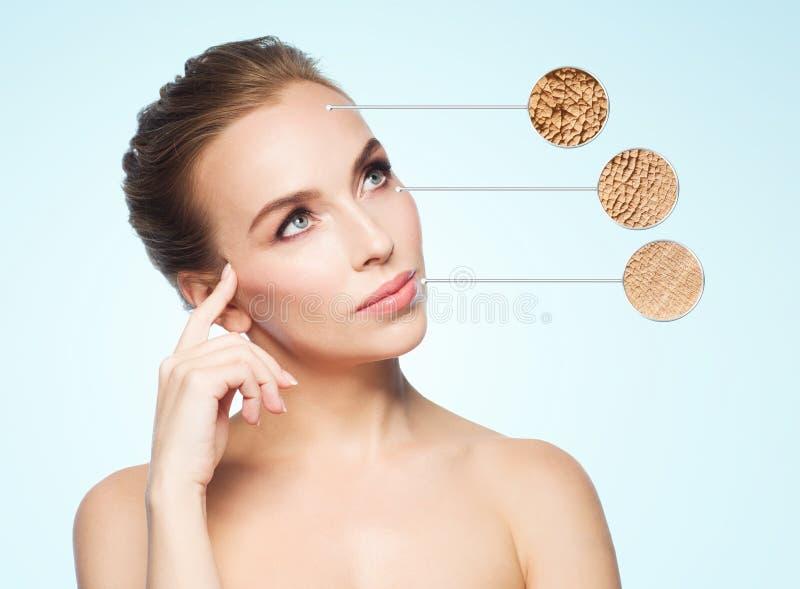 与干性皮肤样品的美丽的少妇面孔 库存图片