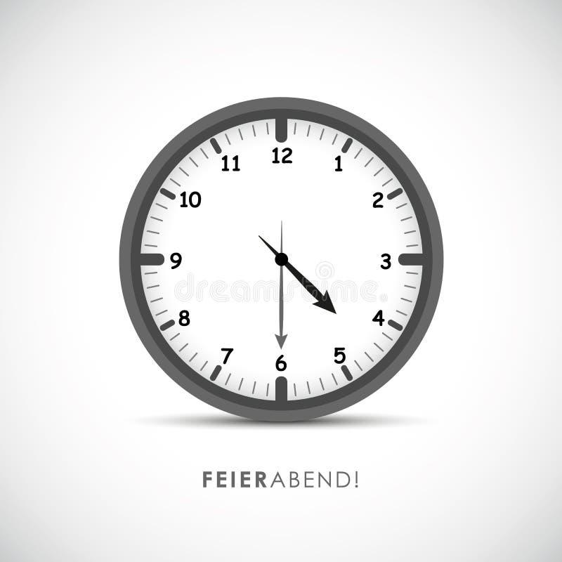 与平时的德国文本结尾的时钟象圆的定时器 皇族释放例证