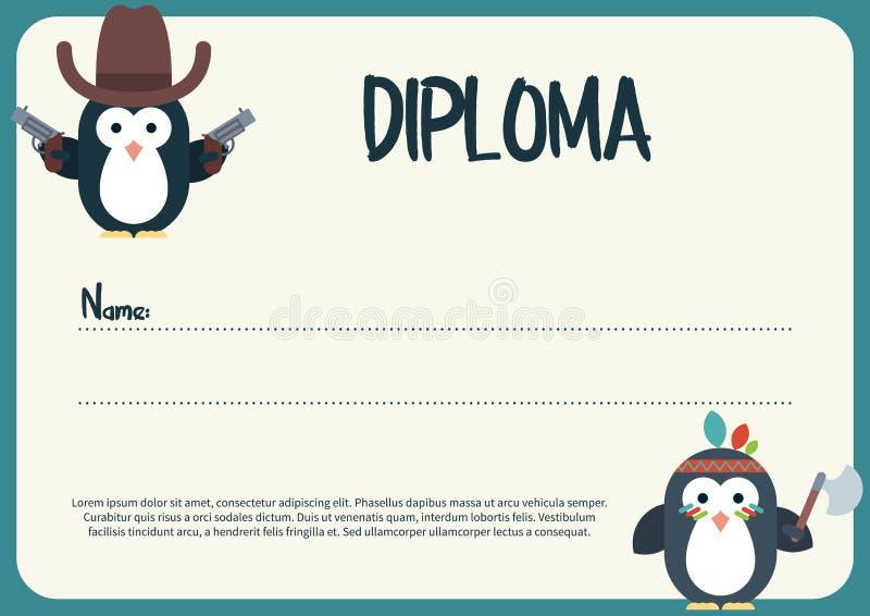 与平的企鹅字符的文凭模板传统化了作为牛仔和美国本地人 皇族释放例证