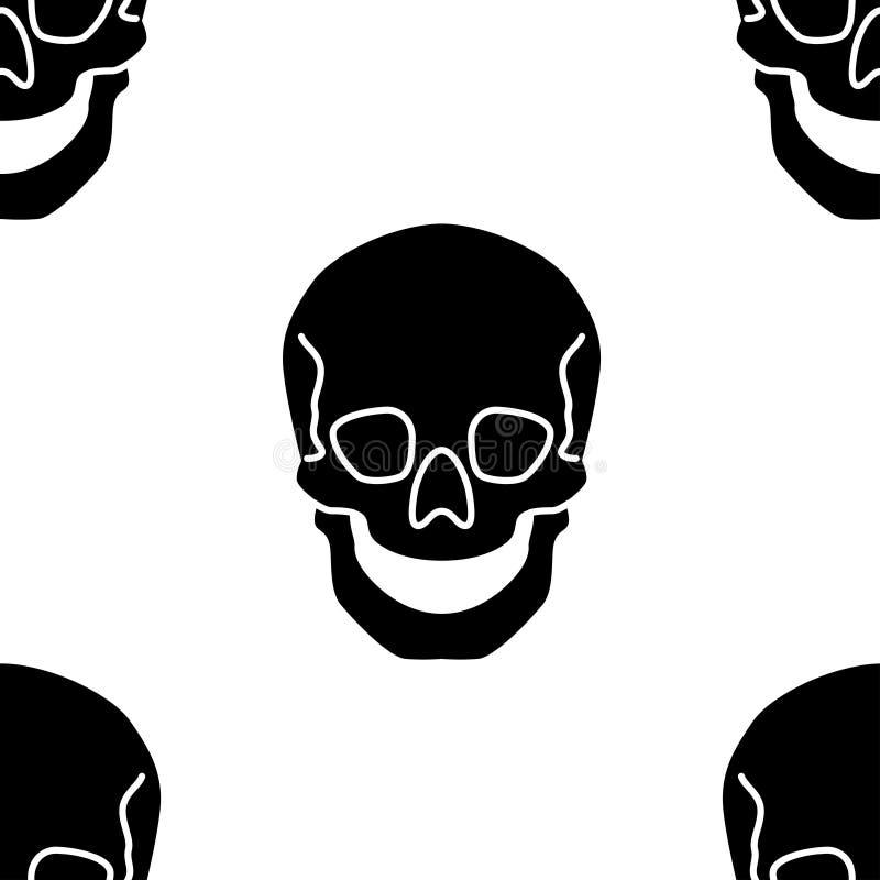 与平的传染媒介头骨例证的无缝的样式 向量例证