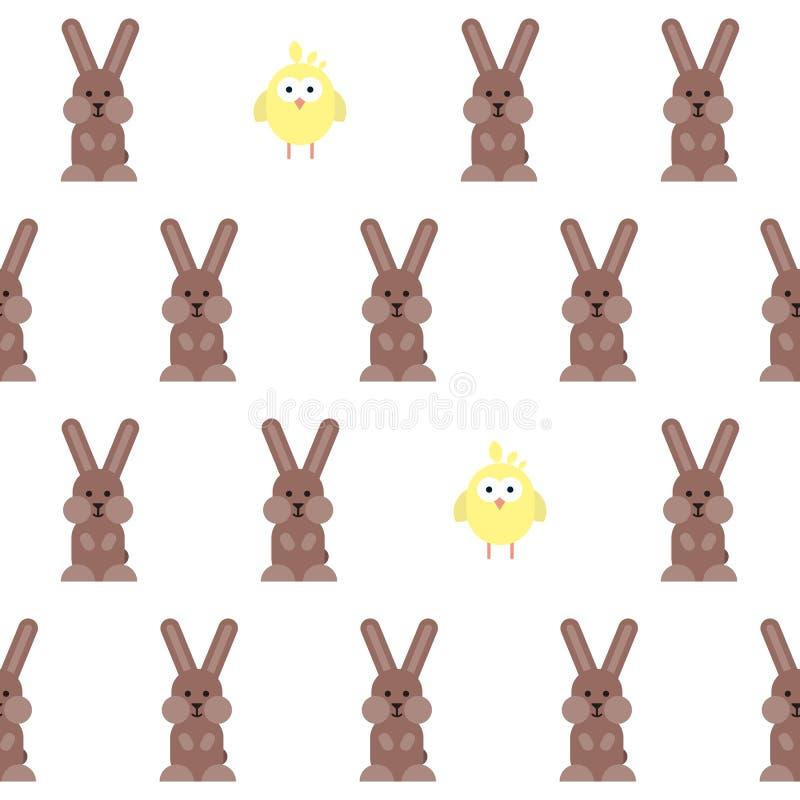 与平的兔宝宝和鸡图表的无缝的样式 库存例证