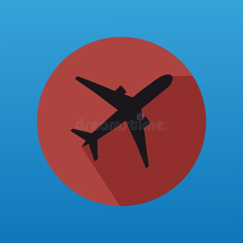 与平的按钮的飞机剪影 库存例证