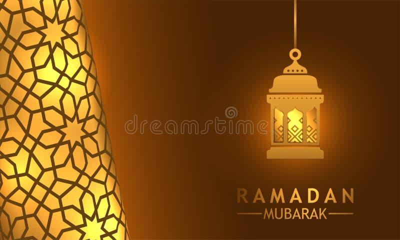 与平的灯笼的美好的几何灿烂光辉豪华墙壁样式为伊斯兰教的斋月穆巴拉克 向量例证
