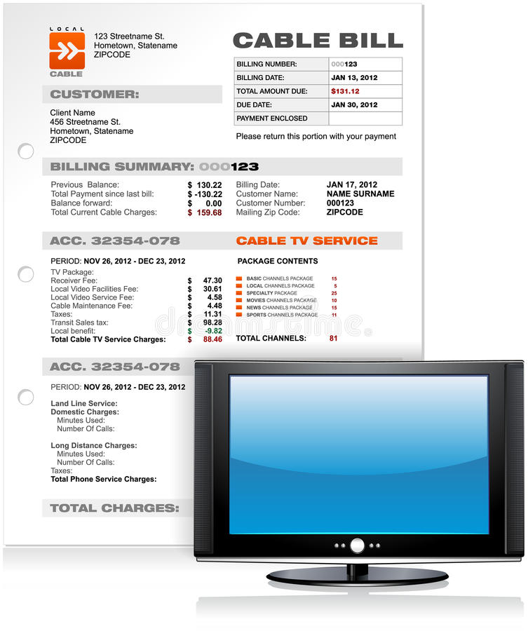 与平的等离子LED LCD电视的有线电视服务比尔  库存例证