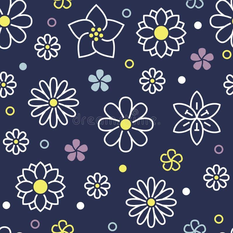 与平的线春天象的花卉无缝的样式开花 开花背景美丽的庭院-雏菊,春黄菊 皇族释放例证