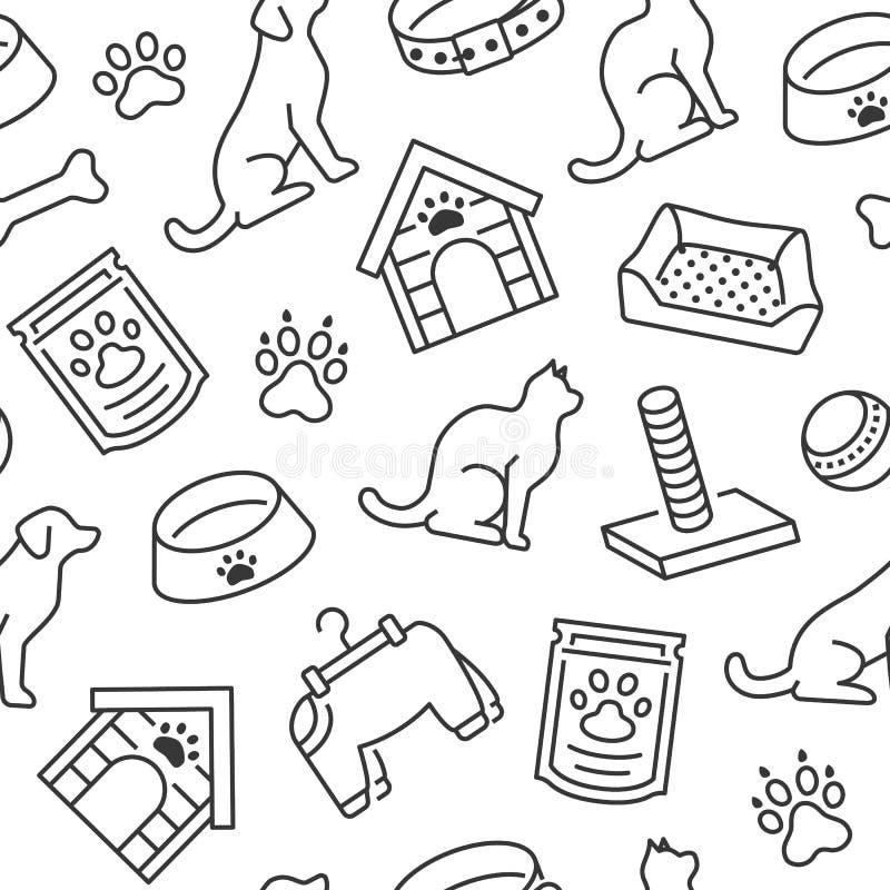 与平的线犬小屋,猫食,食物碗,小狗玩具,动物爪子象的宠物店传染媒介无缝的样式  r 库存例证
