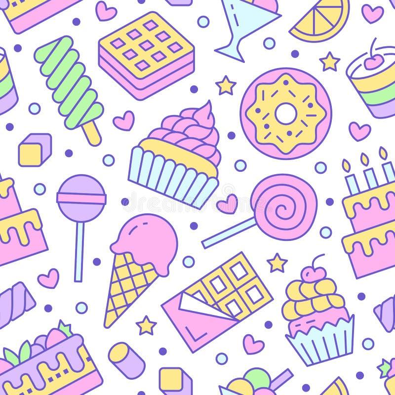 与平的线象的甜食无缝的样式 酥皮点心传染媒介例证-棒棒糖,巧克力块,奶昔 皇族释放例证