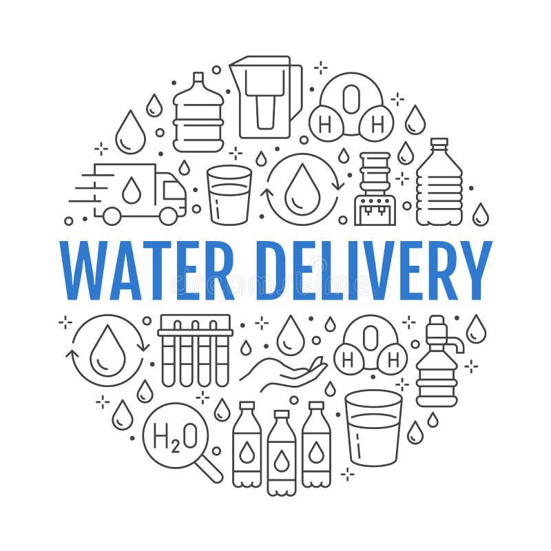 与平的线象的纯净的水传染媒介圈子横幅 水色过滤器,饮用的液体,玻璃,办公室更加凉快的传染媒介 皇族释放例证