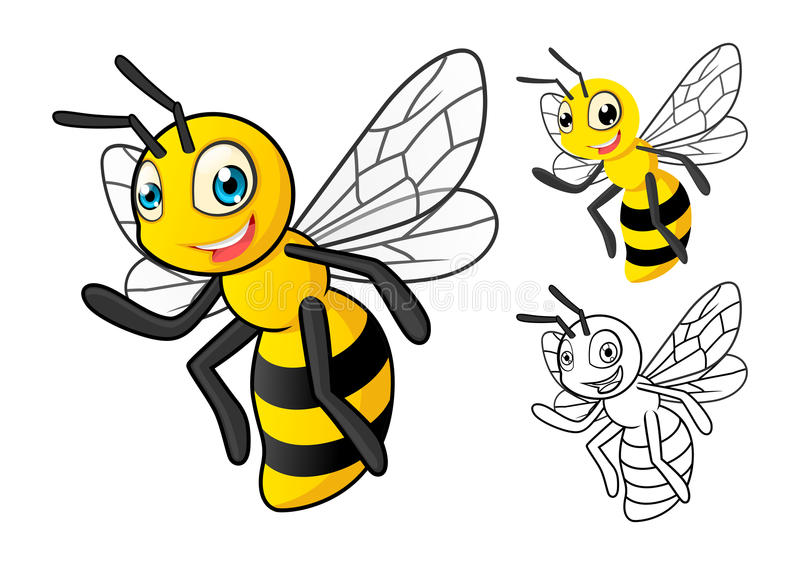 与平的设计和线艺术黑白版本的详细的蜂蜜蜂漫画人物 向量例证