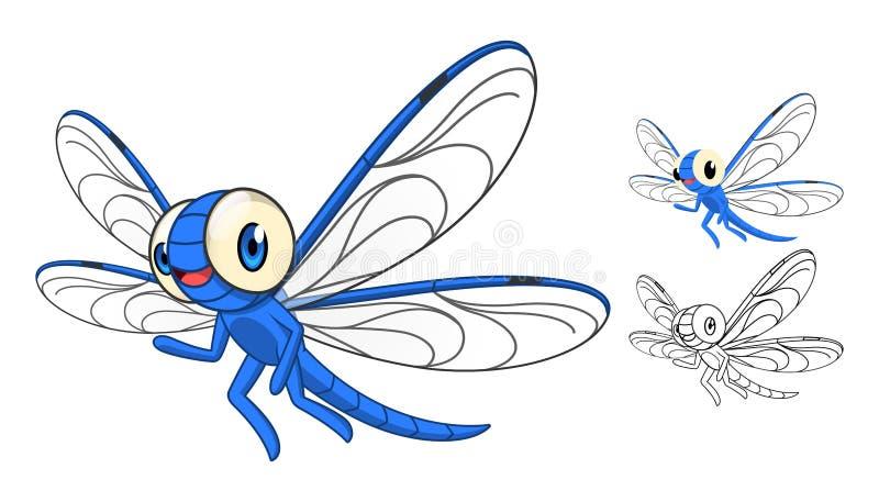 与平的设计和线艺术黑白版本的详细的蜻蜓漫画人物 皇族释放例证