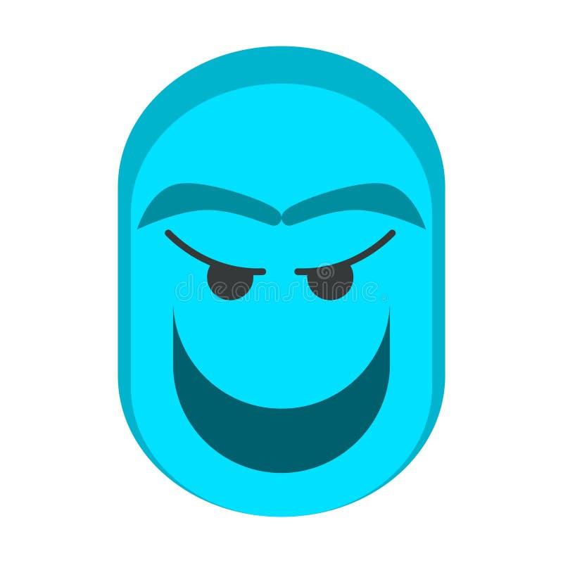 与平的设计的蓝色鬼魂头字符 向量例证