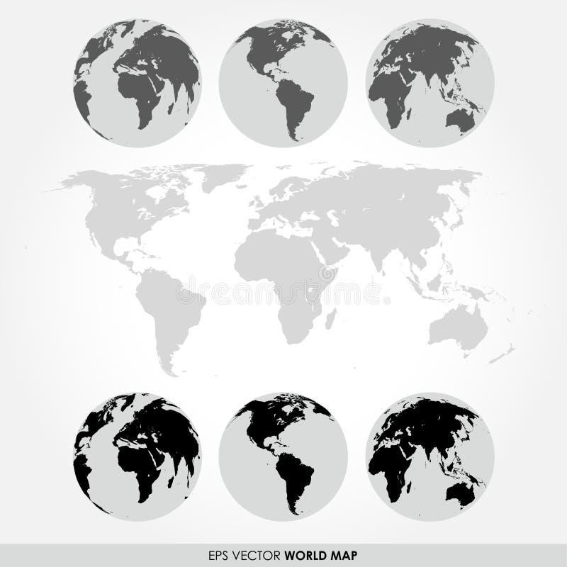 与平的详细的世界地图的世界地图汇集 向量例证