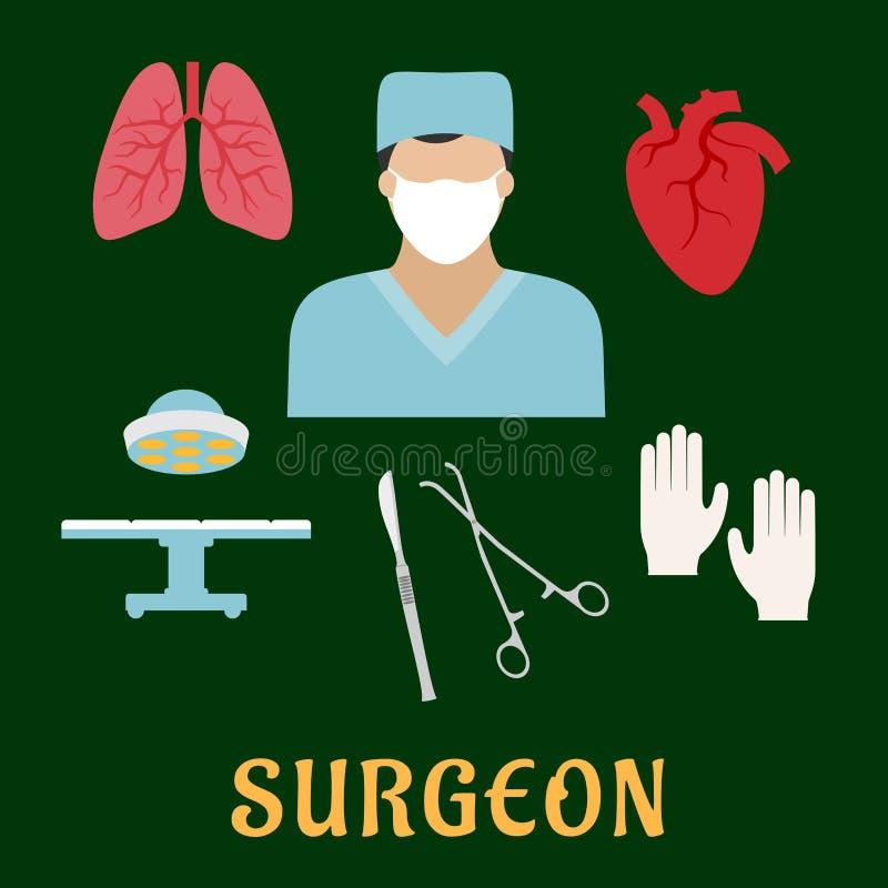 与平的象的外科医生行业 库存例证