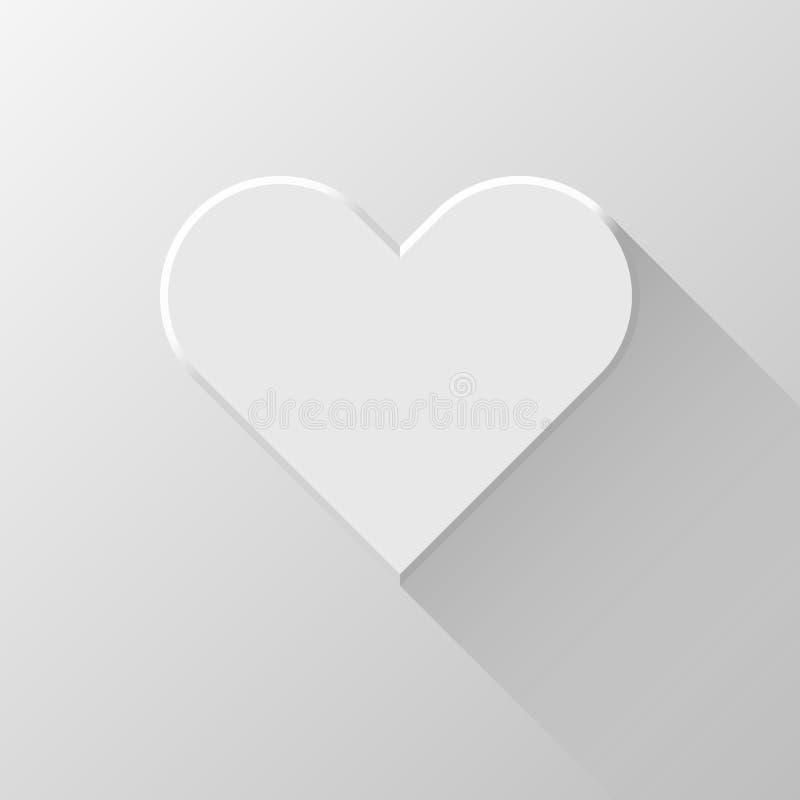 与平的阴影的白色抽象心脏标志 向量例证