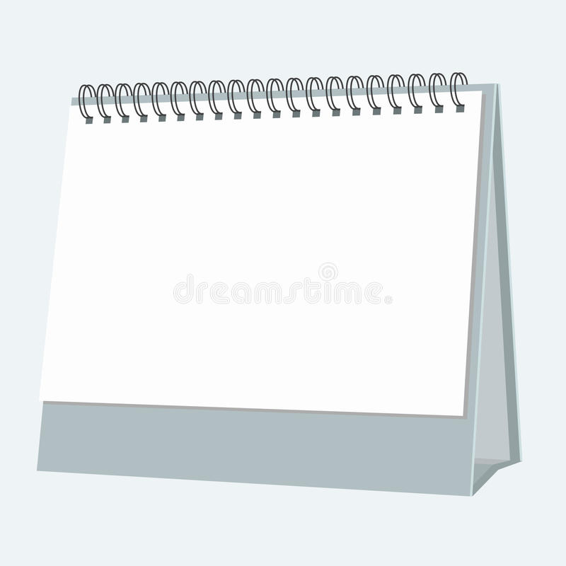 与平的颜色样式设计的空白的桌面日历 向量 向量例证