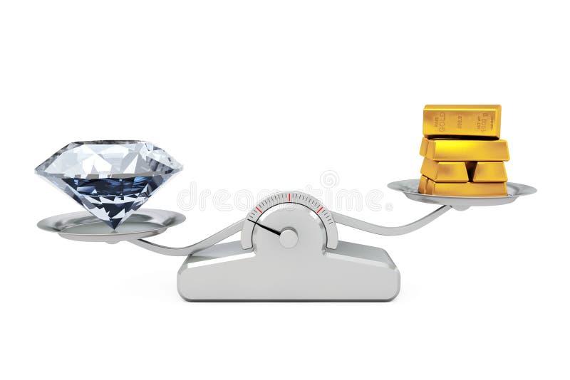 与平衡在简单的衡量的S的金黄酒吧的巨型金刚石 向量例证