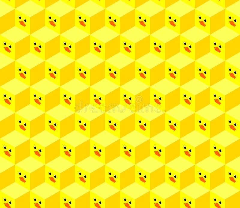 与平设计鸭子面孔的等量立方体 皇族释放例证