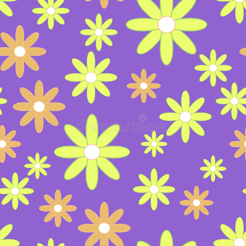 与平面花的传染媒介无缝的啪答声 与黄色和橙色camomiles的背景 皇族释放例证
