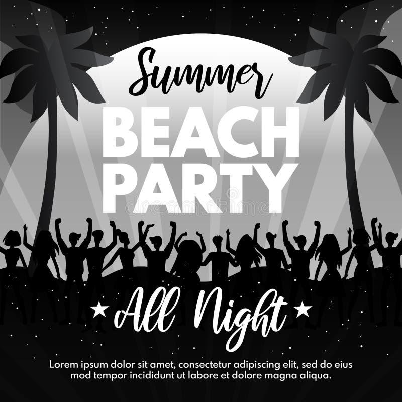 与年轻人和棕榈树的黑白夏天海滩党飞行物 抽象舞会传染媒介设计模板为 皇族释放例证